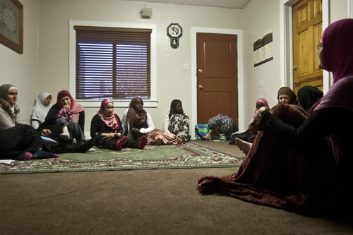 Photo by Chris Detrick   The Salt Lake Tribune  Muslim women gather during a 'Sister to Sister' meeting at the Al-Noor Mosque Friday April 29, 2011.