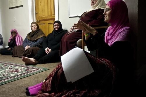 Photo by Chris Detrick   The Salt Lake Tribune  Maysa Kergaye leads a discussion during a 'Sister to Sister' meeting at the Al-Noor Mosque Friday April 29, 2011.  Listening in the background is Anisa Dahir, Wendy Al-Safadi, Mistie Verheyden and Laura Speasmaker.