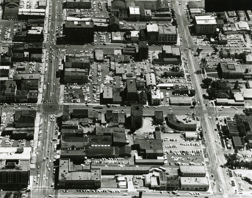 An aerial view of downtown Salt Lake City in the 1960s, looking south from South Temple. West Temple is on the left side. Tribune file photo