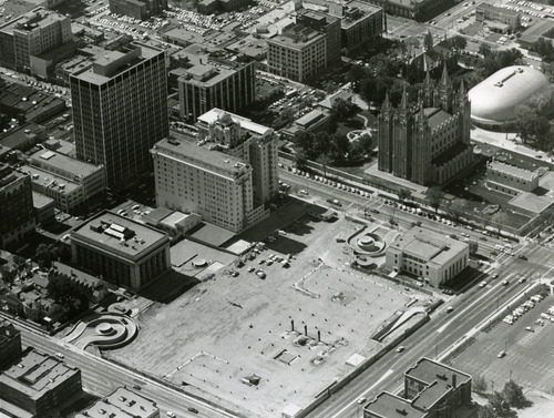 The foundation of the Church Office Building is visible in this aerial photo from the 1960s. Construction on the 28-story building started in 1962. Tribune file photo