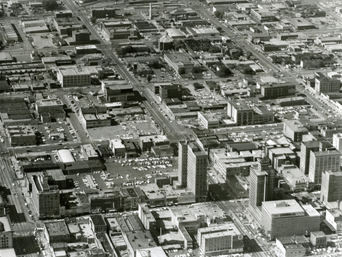 The Walker Building is visible in the lower righthand corner of this aerial view of downtown Salt Lake City in the 1960s. Tribune file photo
