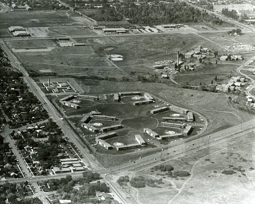 Family student housing at the corner of Sunnyside Avenue and Foothill Boulevard is seen in this aerial photo from the 1960s. Tribune file photo