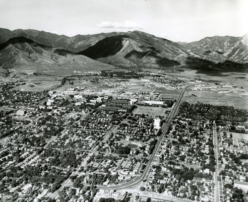 This is an aerial view of the University of Utah and the surrounding neighborhood. The area near the center of the photo is where Rice-Eccles Stadium now stands. Tribune file photo