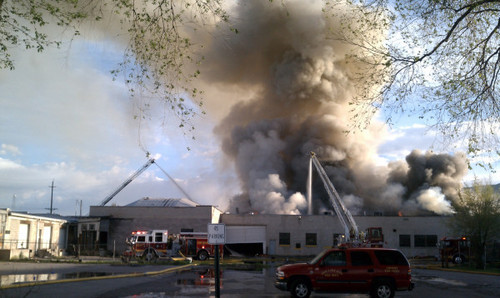 Firefighters Combat A Blaze At The Old Intermountain Furniture MFG. Co.  Building In Salt