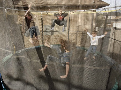Trent Nelson  |  The Salt Lake Tribune Four of new state Sen. Aaron Osmond's children jump on a trampoline on Friday at the family's home in South Jordan. From left are Daniel, Ryan, Madalyn and Jackson.