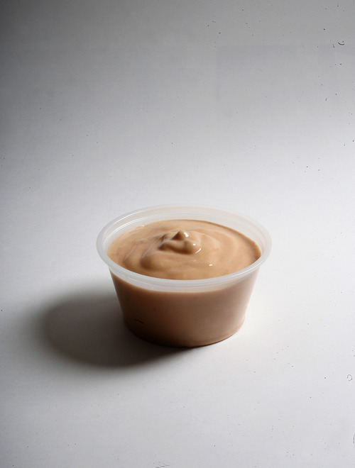 Scott Sommerdorf     The Salt Lake Tribune The founder of Arctic Circle restaurants created fry sauce in the 1950s as an alternative dipping sauce for french fries. Since then, most every Utah restaurant has developed its own version using ketchup, mayonnaise, pickle relish and spices. Pictured, fry sauce from Crown Burger.