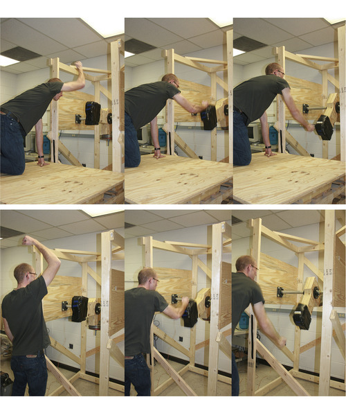 David Carrier   University of Utah  These two photo sequences depict a key part of a University of Utah experiment that showed why there is a fighting advantage to walking on two legs and being tall -- something that may help explain why ape-like human ancestors started walking upright. In the top three photos, a participant in the study kneels with four limbs on the ground and then raises one arm to strike downward on a padded block equipped with sensors to measure the force of the blow. The bottom three photos show the same experiment, but with the blow delivered from an upright position. The study found that blows delivered downward from a two-legged posture are more powerful than downward blows from an all-fours posture, or than any blows delivered upward, from the front or sideways.