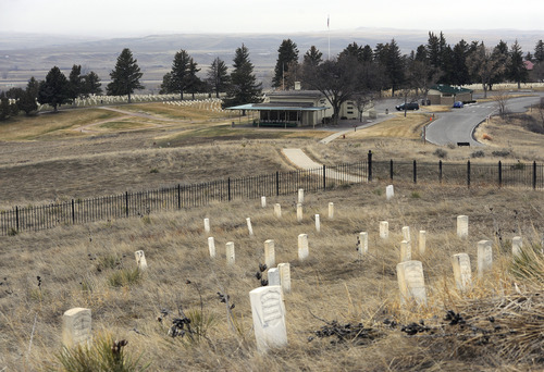 Sarah A. Miller  |  The Salt Lake Tribune  Markers show the area where U.S. soldiers and Indian scouts fell during the Battle of Little Bighorn. Artifact collector Christoper Kortlander runs the Custer Battlefield Museum in nearby Garryowen, Mont.