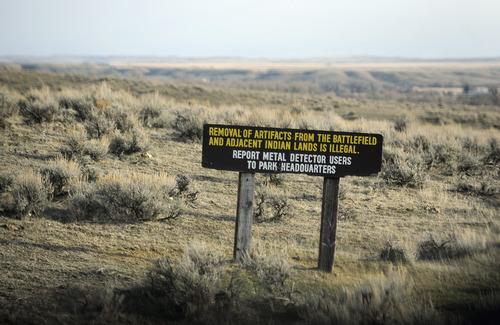 Sarah A. Miller  |  The Salt Lake Tribune  A sign at the entrance to the Little Bighorn Battlefield National Monument warns visitors that taking artifacts from American Indian lands is illegal.