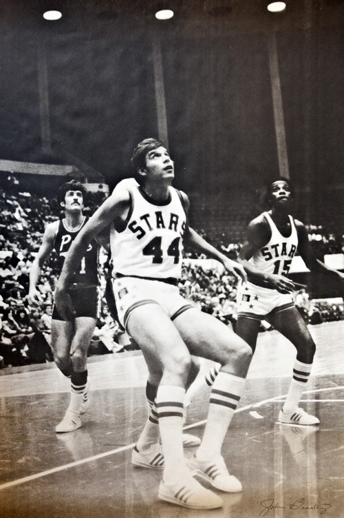 Photo provided by Mr. Mac Utah Stars players John Beasley and Jimmy Jones during an ABA basketball game against the Memphis Pros.