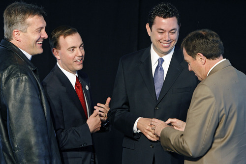 Francisco Kjolseth  |  The Salt Lake Tribune U.S. Rep. Jim Matheson; West Valley City Mayor Mike Winder; U.S. Rep. Jason Chaffetz and Gov. Gary Herbert, from left, get ready Thursday to participate in the announcement of West Valley City's new downtown development project called Fairbourne Station.