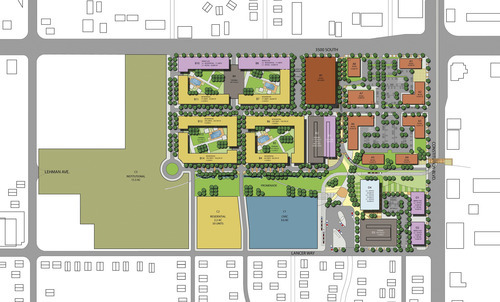 A conceptual site plan of Fairbourne Station, which will cover 40 acres south of 3500 South between 2700 West and 3200 West and include retail, office, residential, hotel and green space. Courtesy West Valley City Public Relations