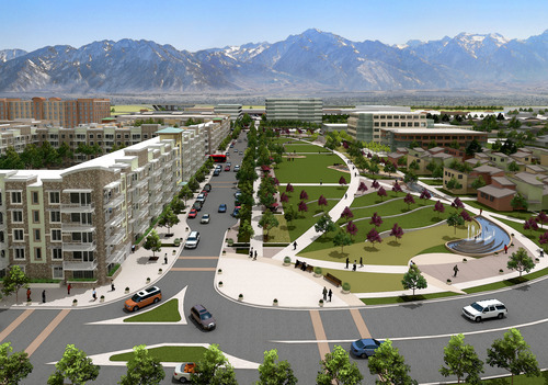 A rendering of Fairbourne Station, which will cover 40 acres south of 3500 South between 2700 West and 3200 West and will include retail, office, residential, hotel and green space. Courtesy West Valley City Public Relations