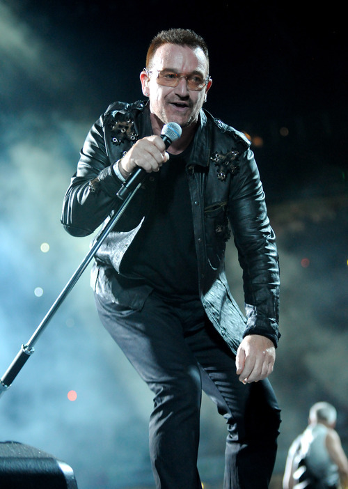 Bono performs onstage during the U2 360 opener at the Camp Nou stadium on June 30, 2009 in Barcelona, Spain.