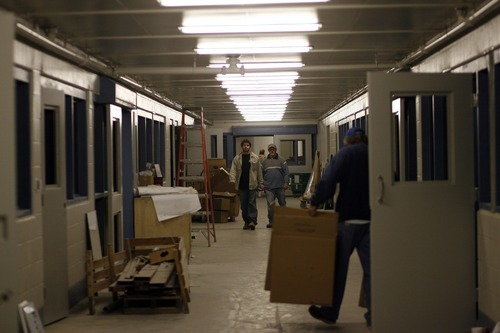 This photograph from Dec. 12, 2007, shows a hallway under contruction as part of the Utah County jail expansion in Spanish Fork. Utah County is suing the architect on the project for $1.35 million. Photo by Chris Detrick/The Salt Lake Tribune frame #_1CD4573