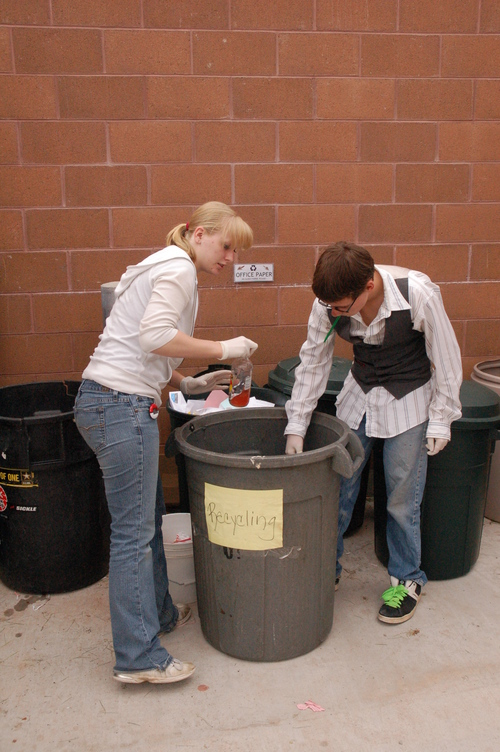 TOM HARADEN  |  Special to The Salt Lake Tribune Tanika Lewis and Randy Treptow sort recycling as part of Mary Walker-Irvin's ecology class at Grand County High School in Moab. Lewis says students don't just talk about recycling anymore -- they do it.