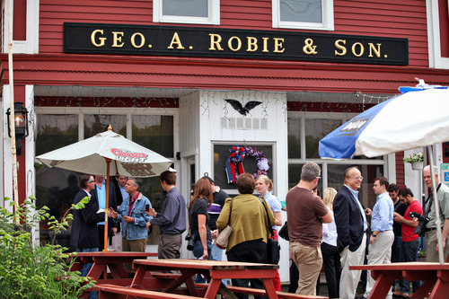 Max Bittle | Special to The Salt Lake Tribune Former Utah Gov. Jon Huntsman Jr. meets potential supporters at Robie's Country Store in Hooksett, N.H., on Saturday.