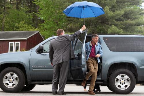 Max Bittle, special to The Salt Lake Tribune Former Utah Gov. Jon Huntsman Jr. arrives at Riley's Gun Shop in Hooksett, N.H., on Saturday.