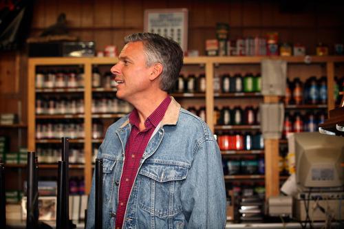 Max Bittle, special to The Salt Lake Tribune Former Utah Gov. Jon Huntsman Jr. looks over the inventory at Riley's Gun Shop in Hooksett, N.H.