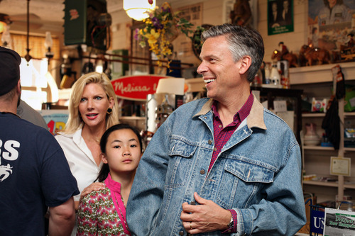 Max Bittle, special to The Salt Lake Tribune Former Utah Gov. Jon Huntsman Jr. talks with customers at Robie's Country Store in Hooksett, N.H., on Saturday.