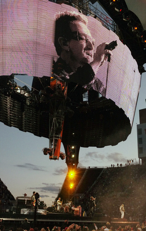 Steve Griffin  |  The Salt Lake Tribune  Bono is displayed on the huge 360 degree screen during the U2 360 Tour concert at Rice Eccles Stadium in Salt Lake City, Utah Tuesday, May 24, 2011.