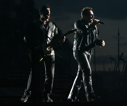 Steve Griffin  |  The Salt Lake Tribune  The Edge and Bono perform during the U2 360 Tour concert at Rice Eccles Stadium in Salt Lake City on Tuesday, May 24, 2011.