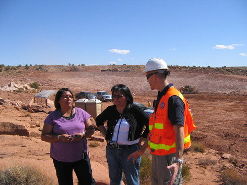 Judy Fahys  |  The Salt Lake Tribune Mary Helen Begay, Helen Myerson and Jason Musante discuss the cleanup of uranium contamination left over from the Skyline Mine on the western edge of Monument Valley. The $6 million Environmental Protection Agency project is under way after many years.