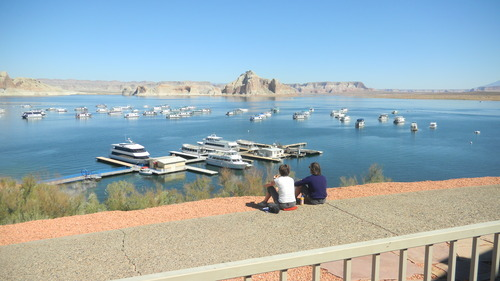 Tom Wharton  |  The Salt Lake Tribune Tourists look down on Castle Rock at Lake Powell.
