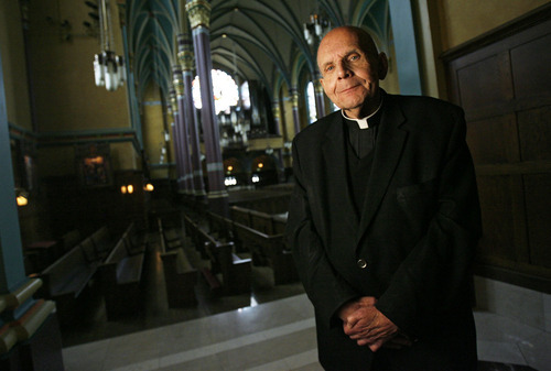 Francisco Kjolseth  |  The Salt Lake Tribune Monsignor J. Terrence Fitzgerald, pictured at the Cathedral of the Madeleine, where he was baptized 74 years ago and later ordained in 1962, is retiring next month as vicar general.