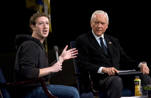 Al Hartmann   |  The Salt Lake Tribune   Facebook founder Mark Zuckerberg, left, speaks with Utah Sen. Orrin Hatch in a tech forum at BYU's Marriott Center on Friday.