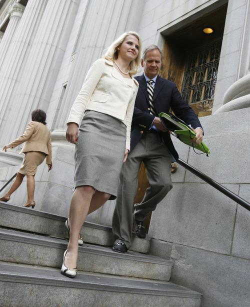 Francisco Kjolseth  |  The Salt Lake Tribune  Elizabeth Smart leaves court after Brian David Mitchell received a life sentence Wednesday, May 25, 2011.