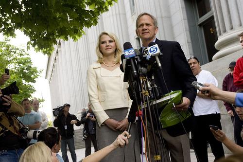 Djamila Grossman  |  The Salt Lake Tribune  Elizabeth Smart and Ed Smart speak to the media after Brian David Mitchell received a life sentence Wednesday, May 25, 2011.