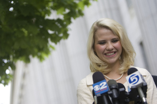 Djamila Grossman  |  The Salt Lake Tribune  Elizabeth Smart speaks to the media after Brian David Mitchell received a life sentence Wednesday, May 25, 2011.