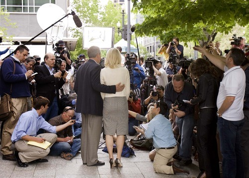 Trent Nelson  |  The Salt Lake Tribune Ed and Elizabeth Smart speak to the media Wednesday after Brian David Mitchell was sentenced to life in prison for his role in the kidnapping of Elizabeth Smart.