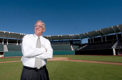UVSC athletic director Michael Jacobsen in the school's new baseball stadium on the Orem campus July 27, 2005   . 7/27/05 Steve Griffin/The Salt Lake Tribune