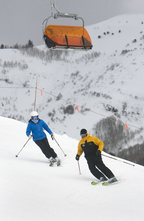 Al Hartmann  |  Tribune file photo This winter's weather filled Utah resorts with many skiers eager for powder days, but it also made carving turns difficult over the Martin Luther King Day weekend, when rain fell at resorts such as Canyons.
