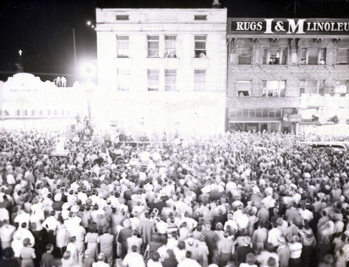 File photo   The Salt Lake Tribune   People gather between 200 and 300 South on State Street to watch a drawing for a new car on Aug. 22, 1949.