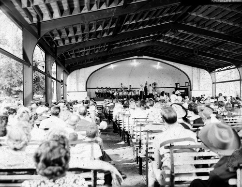 File photo   The Salt Lake Tribune   A crowd listens to music at the Liberty Park Band Stand on Labor Day in 1949.