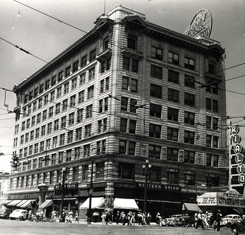 File photo   The Salt Lake Tribune   Utah Oil Building at 300 S. Main in 1940. The movie advertised on the marquee is the Cary Grant film