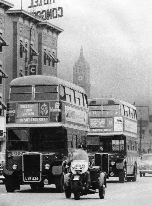 File photo   The Salt Lake Tribune   English double decker buses travel through Salt Lake City in 1952.