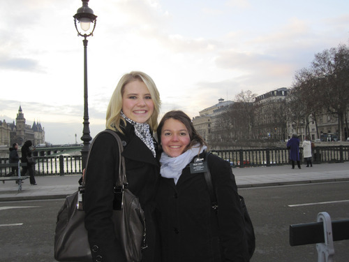 Courtesy Smart family Elizabeth Smart stands with one of her missionary companions, Sister Amanda Ernst, in France. Smart says her companions knew about her background.