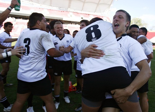 Djamila Grossman  |  The Salt Lake Tribune  Highland rugby players celebrate after winning against United in the Rugby Championship game at Rio Tinto Stadium in Sandy, Utah, on Saturday, May 21, 2011.