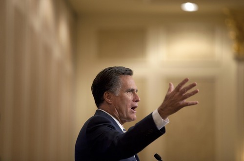 Mitt Romney speaks at the Republican Jewish Coalition annual leadership meeting, Saturday, April 2, 2011, in Las Vegas. After failing to win the Republican nomination in his bid for the presidency in 2008, Romney's strategy is more of a multi-state marathon this time, with economically suffering Nevada an important round in what advisers predict could be a protracted fight to be the party's 2012 nominee. (AP Photo/Julie Jacobson)