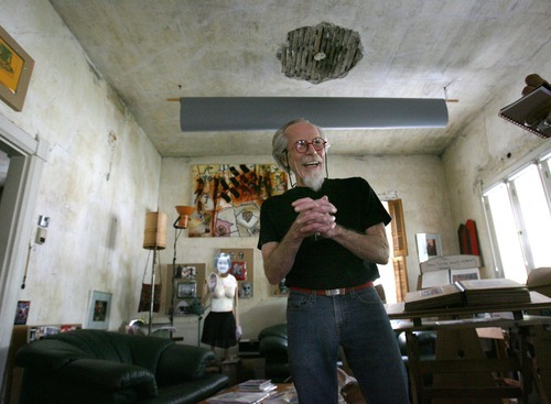 Steve Griffin  |  The Salt Lake Tribune  Artist Jim Williams in his Salt Lake City home Wednesday, June 1, 2011. Williams has been installing his art work in his home for years.