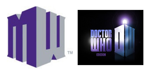 The new Mountain West logo on the left, and the Doctor Who logo on the right.
