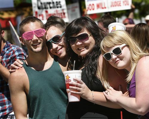 Scott Sommerdorf  |  The Salt Lake Tribune Utah Pride Parade watchers on 200 South, Sunday, June 5, 2011.