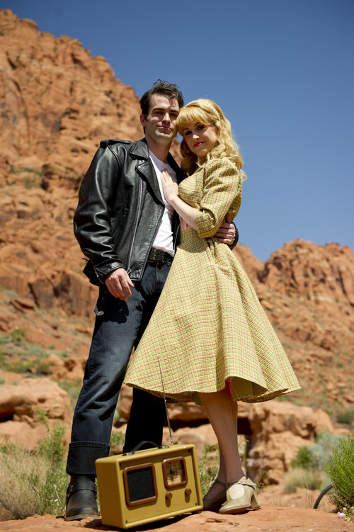 Preston Ellis stars as Danny and Crystal Kellog as Sandy in the Tuacahn Amphitheatre's production of