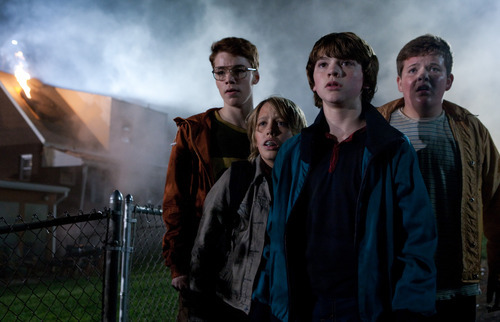 In this film publicity image released by Paramount Pictures, from left, Gabriel Basso, Ryan Lee, Joel Courtney and Riley Griffiths are shown in a scene from