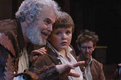 Kieran Connolly (left) as Sir John Falstaff, Riley Griffiths as Robin, and David Ian Lee as Pistol in the Utah Shakespeare Festival's 2006 production of The Merry Wives of Windsor. Courtesy Karl Hugh | Utah Shakespeare Festival (2006)