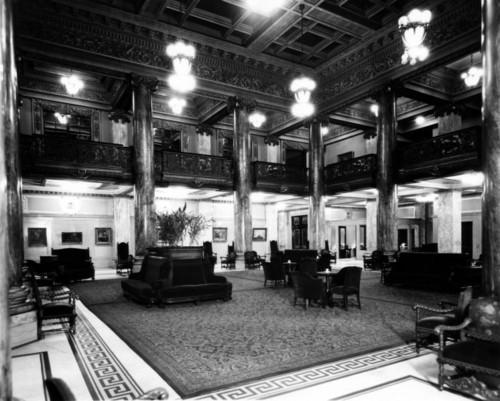 Hotel Utah lobby, year unknown. Thursday is Hotel Utah's 100th anniversary. Photo courtesy Marriott Library